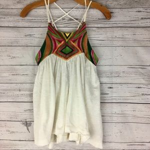 Free People Embroidered strappy flowy tank top